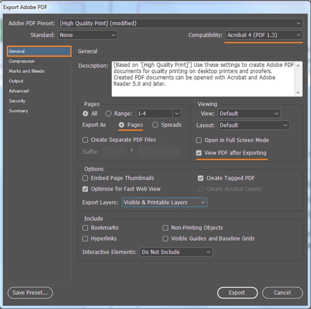 Eksport til PDF. Skjermdump som viser riktige valg under fanen generell.