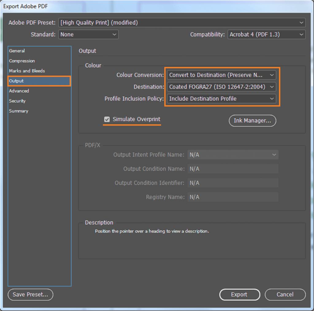Eksport til PDF. Skjermdump som viser riktige valg under fanen Output.